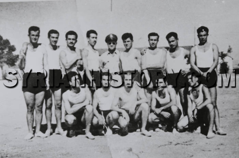 Young hafez al assad playing sports with friends in the 1950s